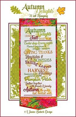 AUTUMN DELIGHTS WALL HANGING MACHINE EMBROIDERY CD, Janine Babich Designs NEW