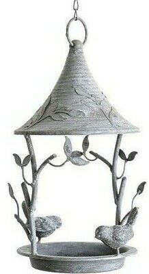 Grey Metal Hanging Bird Feeder