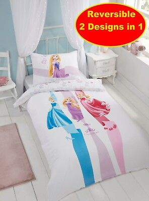 Official Disney Princess Single Duvet Quilt Cover Set Girls White Bedroom Bed
