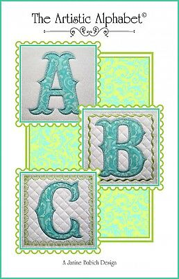 ARTISTIC ALPHABET WALL HANGING MACHINE EMBROIDERY CD, Janine Babich Designs NEW