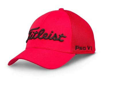 Titleist 2018 Tour Sports Mesh Fitted Hat- Red/Black -M/L