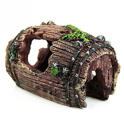 Aquarium Fish Tank Barrel Resin Ornament Cave Landscaping Furnishing Decor FOCA
