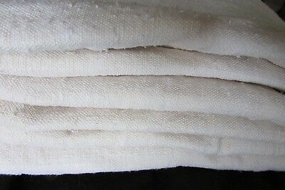 Beautiful Antique French chanvre slubby handwoven oatmeal linen length c1800's