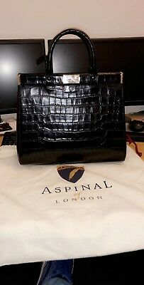 82eda42c3b96 Aspinal Of London The Small Florence Snap Bag Deep Shine Black Croc  brand  New