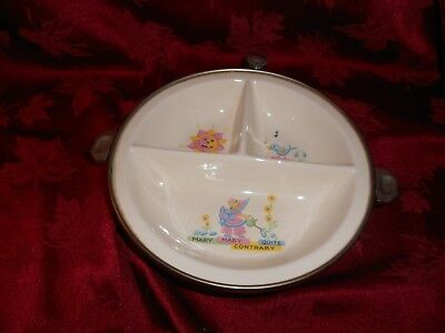 Vintage Baby Warming Dish Mary Quite Contrary Divided GW Co. with cap