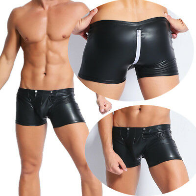 Men Brief PVC Faux Leather Metallic With Zipper Boxer Underwear Trunks Back Open
