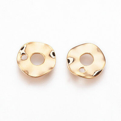 10pcs Real Gold Plated Brass Charms Wavy Spacers Disc Pendant 9mm Beads