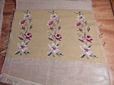 Vintage Completed Needlepoint Pink Flowers On Mustard Yellow Background