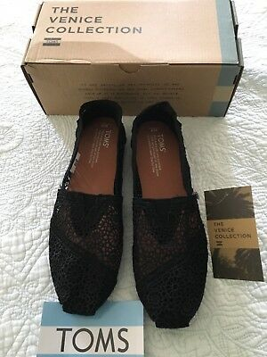 18938e3b265 TOMS CLASSIC BLACK Moroccan Crochet SLIP ON FLAT SHOE Women Size 9.5 New In  Box