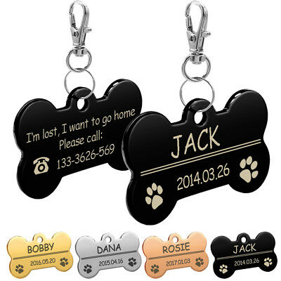 Bone Engrave Dog Tag ID Name Disc Personalised Pet Puppy Cat Dog Identity Tags