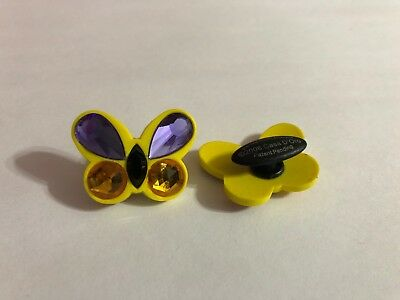 Large Yellow & Purple Butterfly Shoe-Doodle Butterfly Shoe Charm fr Crocs PSC565