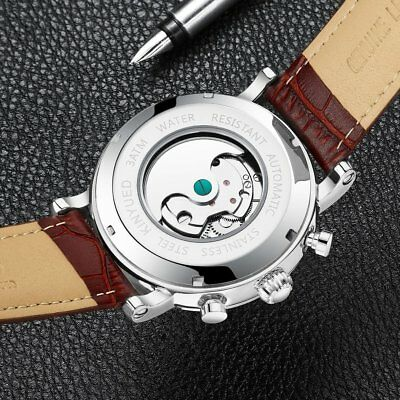 Men Mechanical Watch Automatic Genuine Leather Strap Round Dial Watch Gift BZ