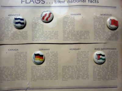lot of 5 VTG 1930s tin-litho pinback buttons Flags Iraq, Argentina, Germany, +>