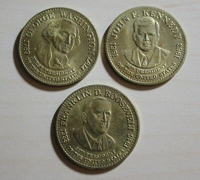 Lot of 3 President Tokens Coins George Washington JFK FDR Kennedy Roosevelt