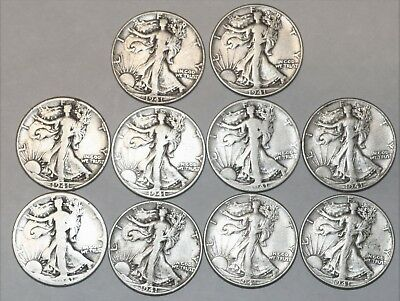 Walking liberty 90% Silver Coin Lot of 10