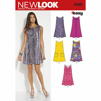 New Look Sewing Pattern 6125 Misses 10-22 Easy Swing Tent A-Line Shift Dress