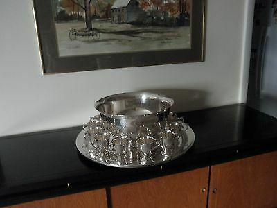 gorham silver plated punch bowl w/12 cups & large under plate w/ladle