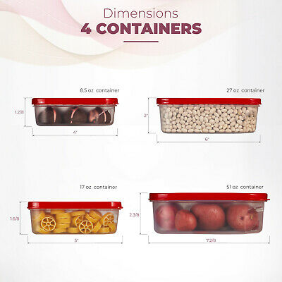 Food Storage Plastic Containers Reusable with Lids Square 4 Piece Set, BPA-Free.