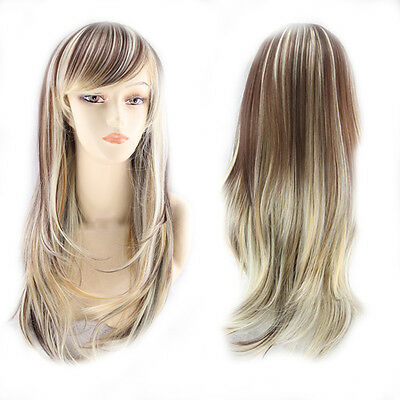 Harajuku Anime Wig Natural Long Straight Hair Full Wig Cosplay Costume Party New