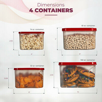 Food Storage Plastic Containers Reusable Square with Lids 4 Piece Set, BPA-Free.