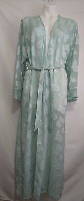 Vintage Mary McFadden Sheer Mint Green Floral Pattern Long Robe with Tie Small