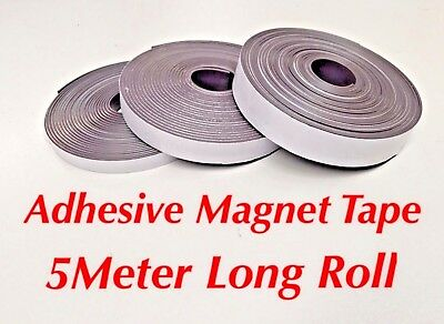 5M X 10/15/20mm - Flexible Self Adhesive Magnet Rubber Tape Magnetic Roll Strip