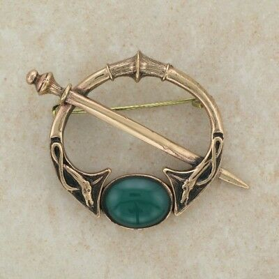 Irish Bronze Celtic Tara brooch with green  stones