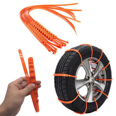 10Pcs Snow Tire Chains For Car Truck SUV Anti-Skid Emergency Winter Driving US