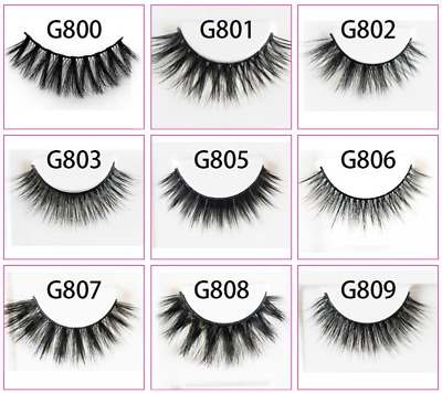 Luxury 3D Mink False Eyelashes Wispy Cross Long Thick Soft Fake Eye Lashes UK