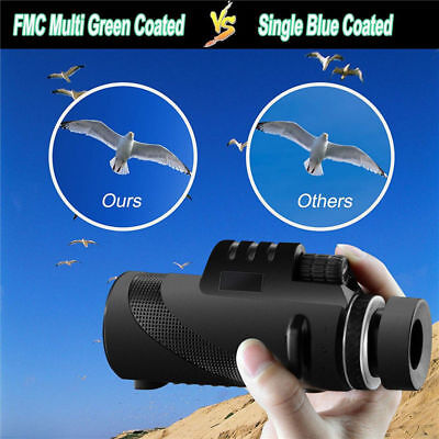 40X60 HD Monocular Day&Night Vision Dual Focus Telescope Prism Scope Portable
