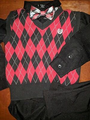 6eb25087c CHAPS TODDLER BOYS Red Cable Knit Sweater Vest Cotton Size 4T EUC ...