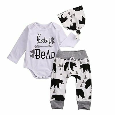 3Pcs Baby Boys Girls Long Sleeve Romper Tops+Long Pants+Hat Outfits Clothes Set