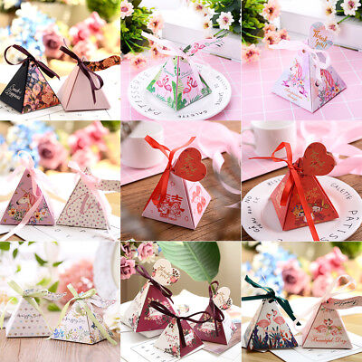 Triangle Pyramid Favor Candy Tea Boxes Ribbon Gift Box Wedding Party Favour Bags