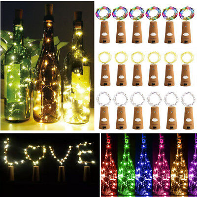 Lot 10/20 20Led Cork Shaped Lights String Wine Bottle Lamp Party Home Decor 2M j