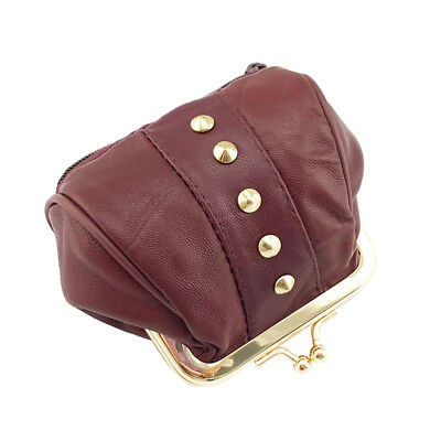 Genuine Leather Coin Purse Small Change Purse Metal Frame Mini Women Wallets