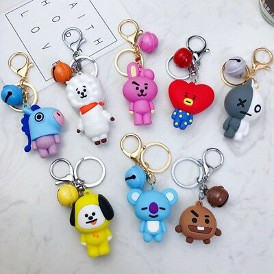 Fashion BTS  Keychain Keyring Cute Cartoon PVC Doll Bell Bag Pendant Fans Gift