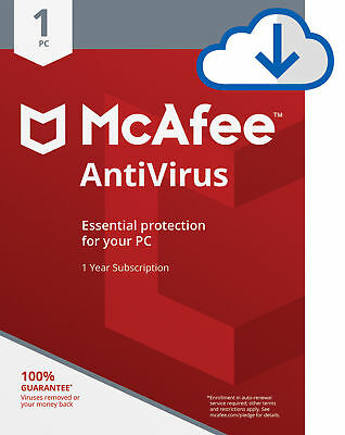 McAfee AntiVirus Plus 2019, 1 Year, 1 PC's Subscription  Email Delivery-Global