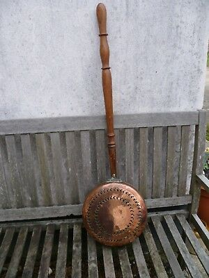 An Antique French Banjo Shaped Copper Bed Warming Pan. Fretted Copper Bed Warmer