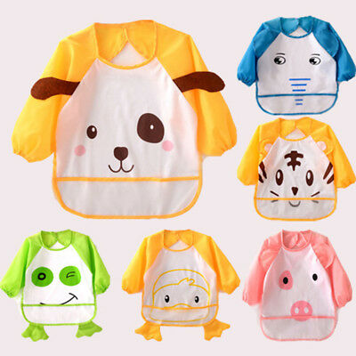 Unisex Kids Baby Bib Animal Apron Waterproof with Sleeves&Pocket, 6-36 Months