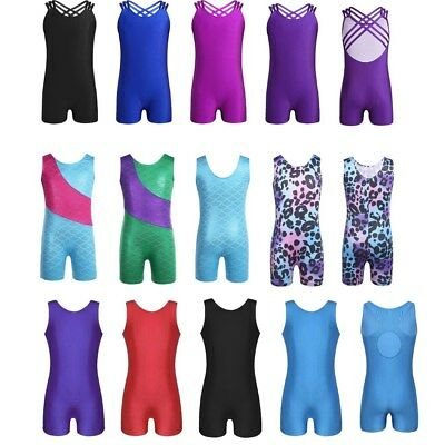 Girls Ballet Dance Tank Leotards Kid Shiny One Piece Gymnastics Unitard Jumpsuit
