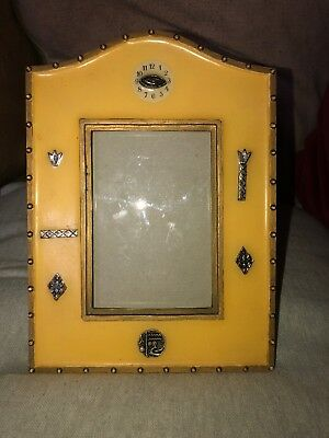 Unusual Vintage Native American Photograph Frame Yellow Colour Silvered Symbols