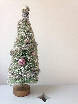 Large vintage bottle brush Christmas tree glitter tinsel silver pink baubles 60s