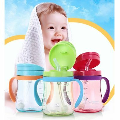 Shock Resistance Baby Straw Drinking Bottle 320ml Dual Handle Plastic Materials