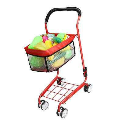 Mini Supermarket Handcart Grocery Cart Trolley Toy For Kids Pretend Playsets