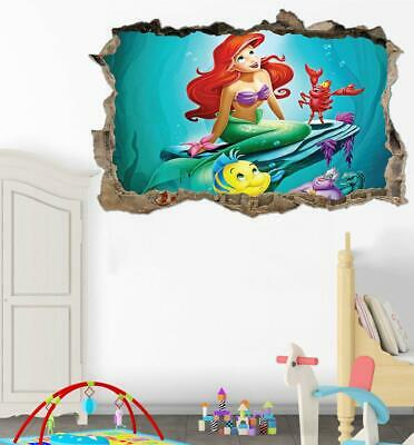 DISNEY LITTLE MERMAID Crack Poster Kids Bedroom Wallpaper Decal ...
