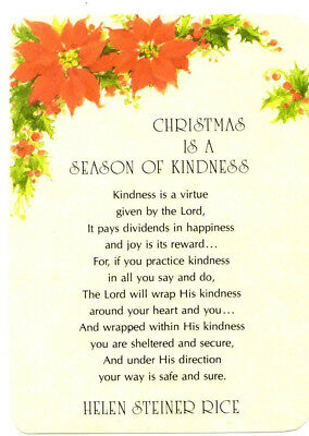 Christmas is a Season of Kindness Poem, by Helen Steiner Rice Postcard