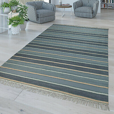 Hand Woven Rug In Modern Striped Design With Fringes High Quality Blue