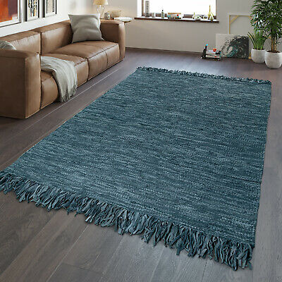 Hand Woven Fringe Leather Rug | Living Room Trend |Genuine Leather Stripes | Gre