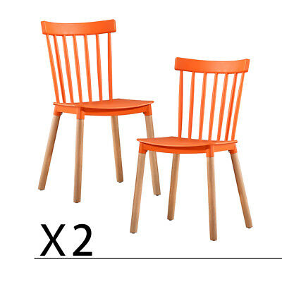 Dining Chair Set of 2 Windsor Style Furniture Kitchen Chairs Orange US Stock