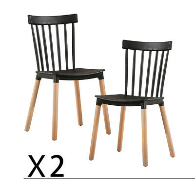 Dining Chairs Set of 2 Solid Wood Windsor Mid-century Style Chairs Black US